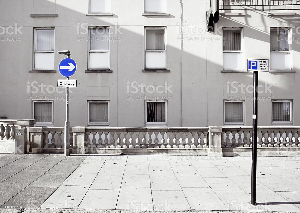 Two blue road signs royalty-free stock photo