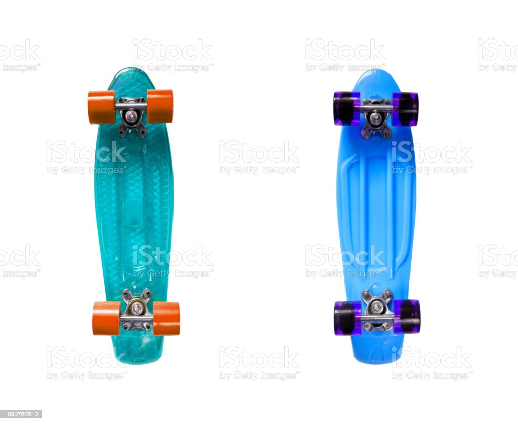 Two blue skateboards stock photo