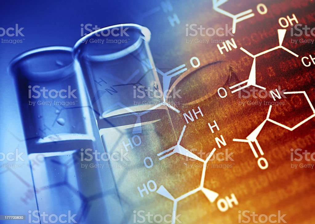 Two blue test tubes with scientific element background stock photo
