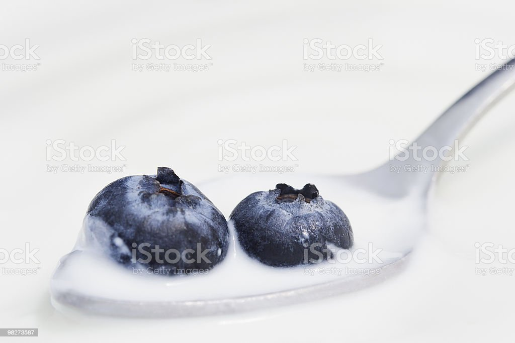Two Blueberries and Yogurt on a Spoon royalty-free stock photo