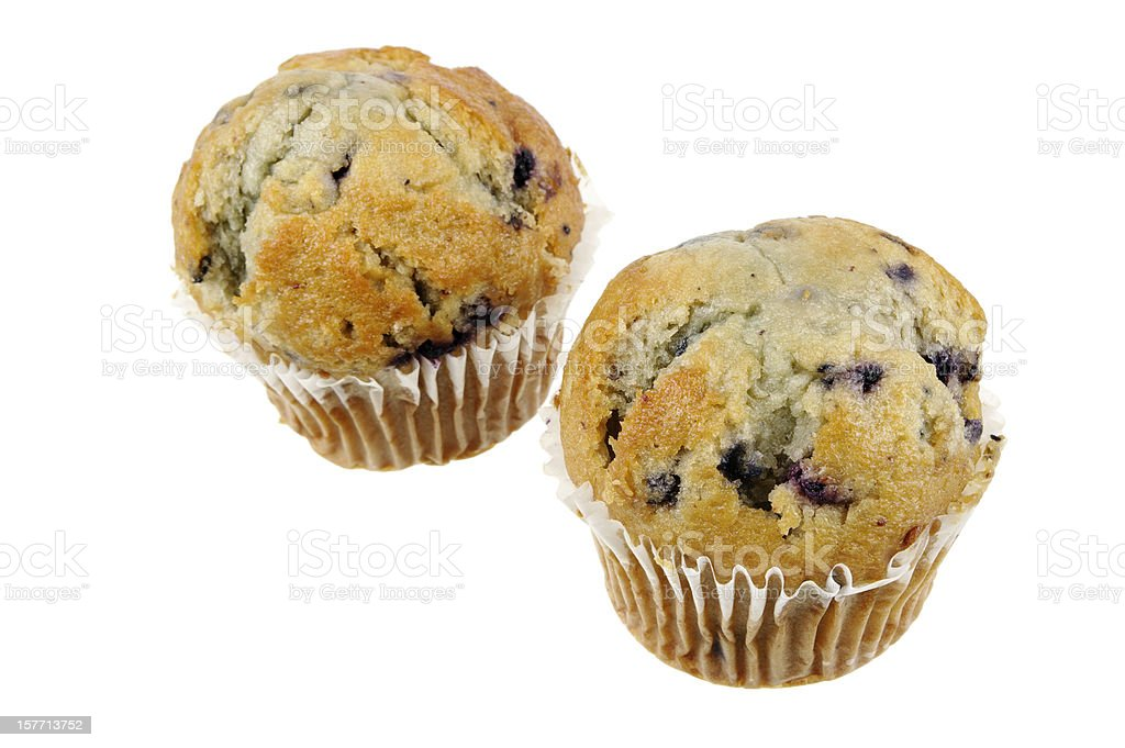 Two blueberry Muffins Isolated On White stock photo