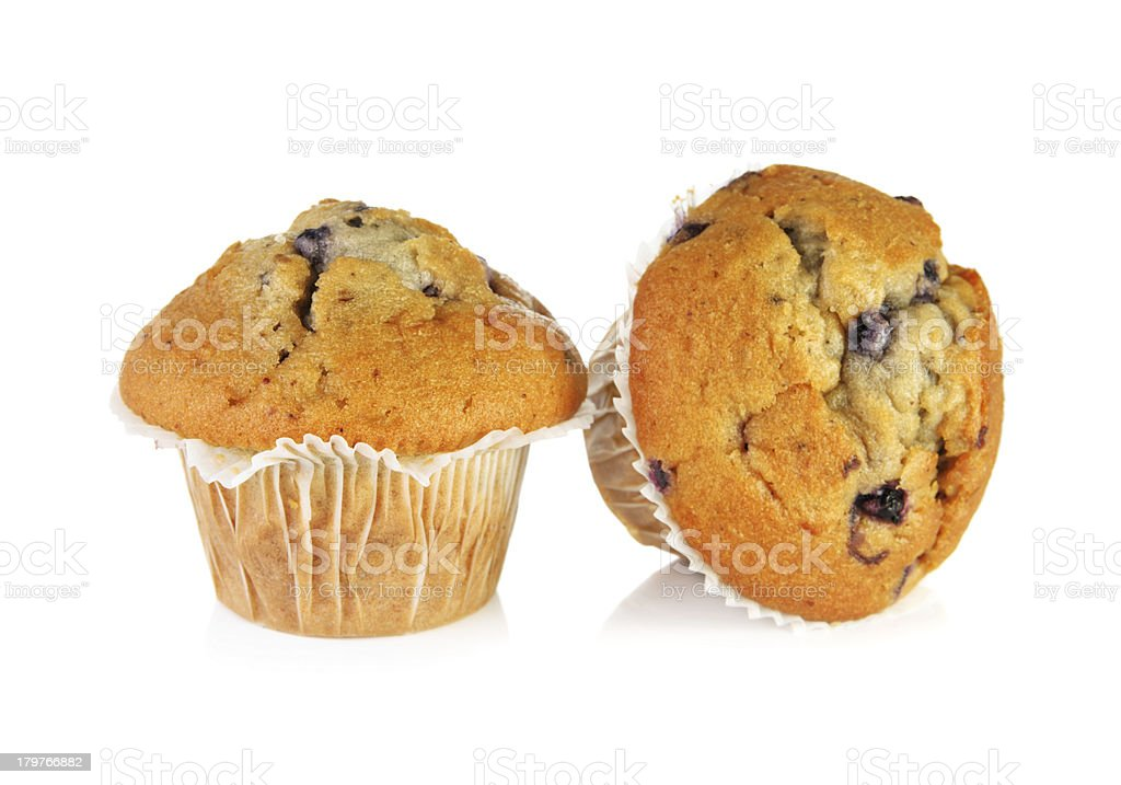 Two blueberry muffins stock photo