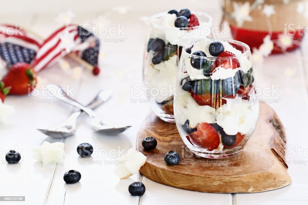 Two Blueberry Strawberry Trifles stock photo