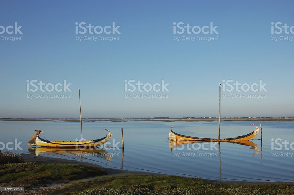 Two Boats and a seagull... stock photo