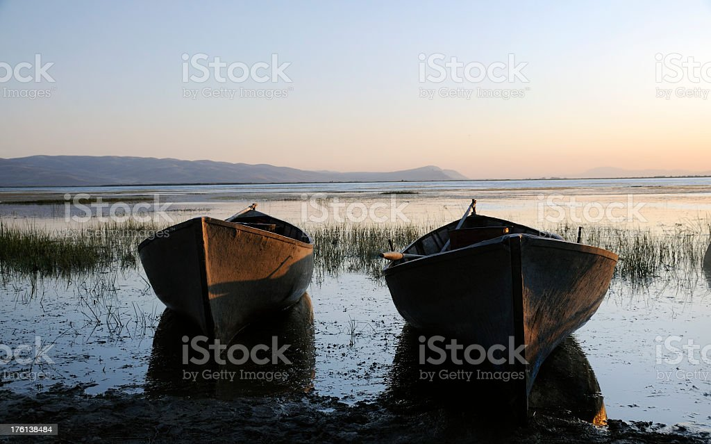 Two Boats in the sunset stock photo