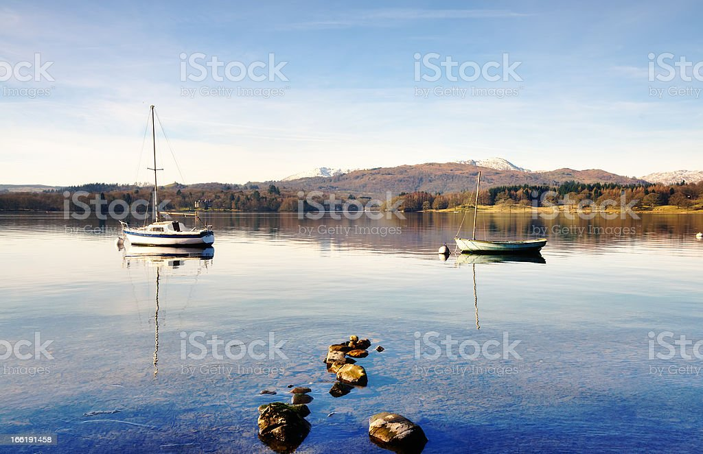 Two boats on Windermere with mountain backdrop stock photo