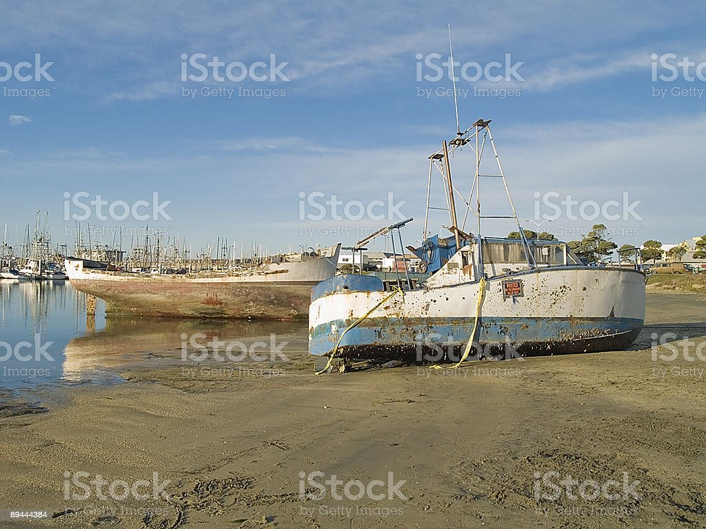 two boats wreaked royalty-free stock photo