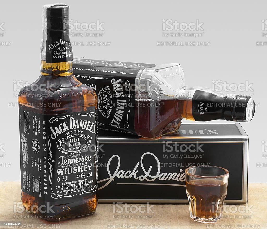 two bottles jack daniel and shot glass royalty-free stock photo