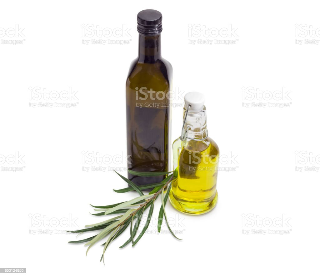 Two bottles of olive oil and olive branch stock photo
