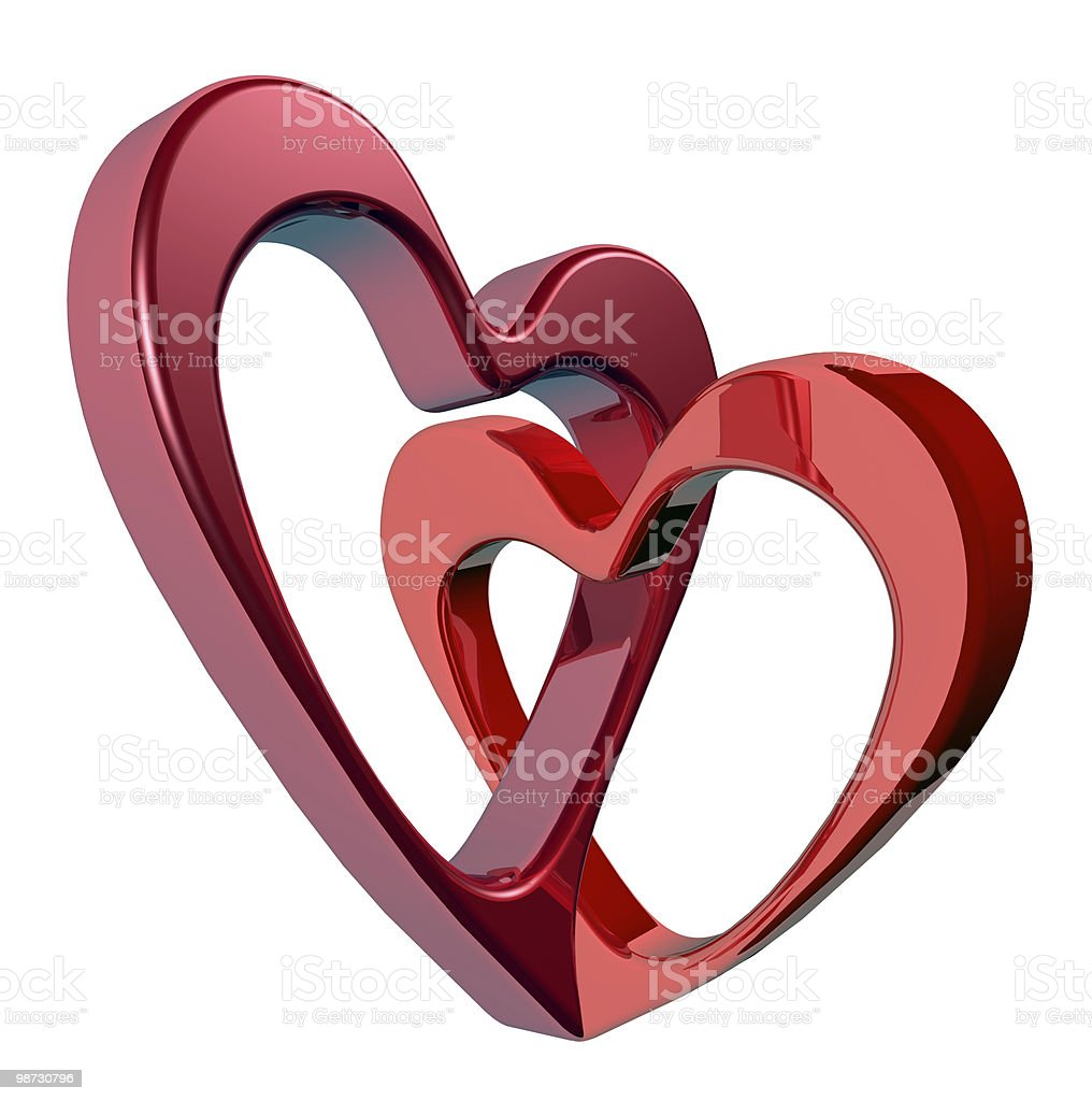 Two bound hearts royalty-free stock photo