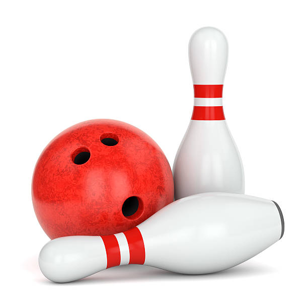 Two bowling pins and ball stock photo