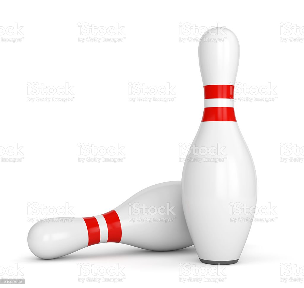 Two bowling pins stock photo