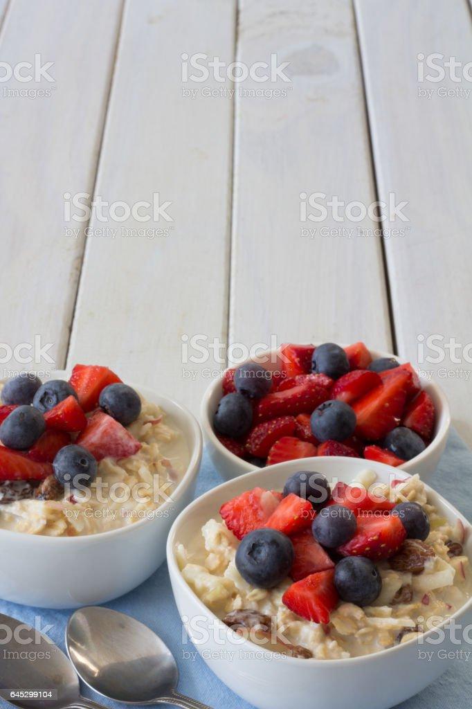 Two Bowls of Bircher Muesli Vertical - Photo