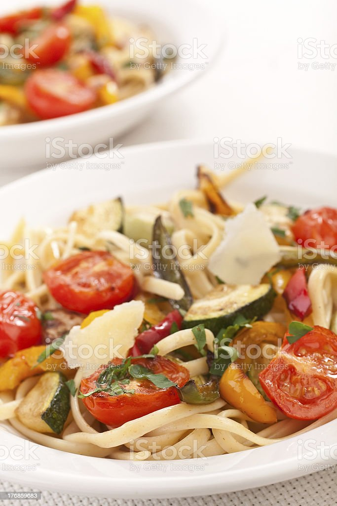 two bowls of mediterranean pasta royalty-free stock photo