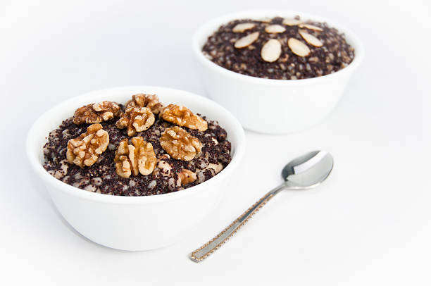 Two bowls of traditional Kutia dessert on isolating background stock photo