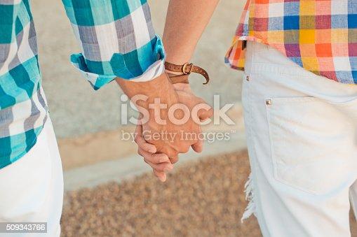istock Two boyfriends outdoor portrait 509343766