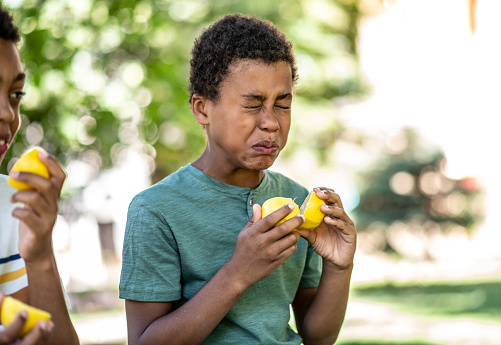 Two boys are playing with a lemon on a sunny day, one put a lemon in his eyes