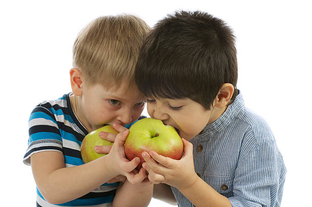 Two Boys Eating Apples stock photo