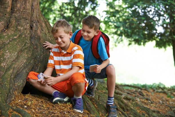 Dos muchachos encontrar artículo mientras Geocaching en bosque - foto de stock
