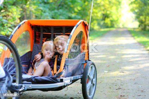 istock Two Boys in Bike Trailer Outside 183686387
