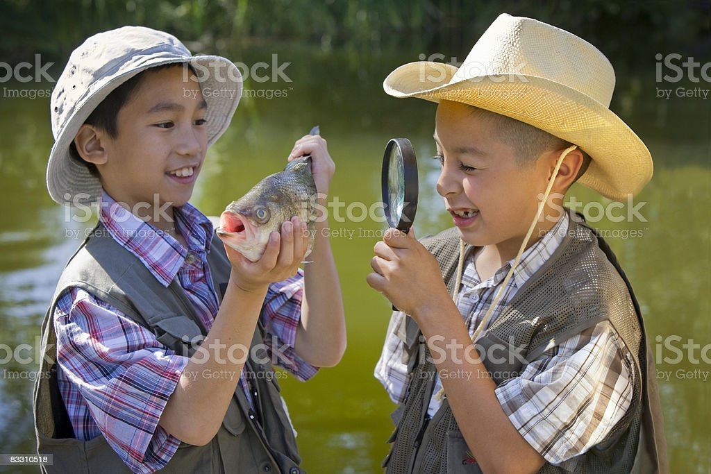 Two boys investigating caught fish near lake. foto stock royalty-free