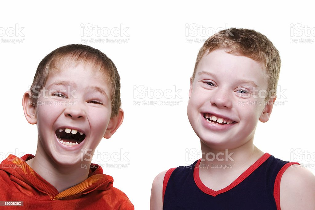 Two boys laughing royalty-free stock photo
