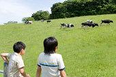 2 人の少年である牛のランチ