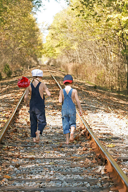 Two Boys on an Adventure stock photo