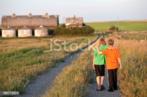 585604690istockphoto Two Boys Walking Down a Country Road 180713924