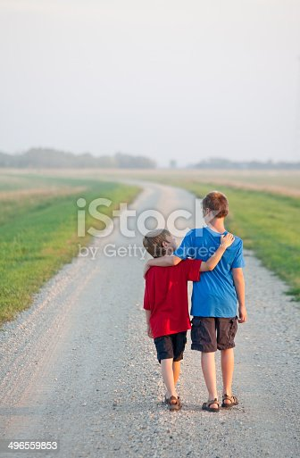 585604690 istock photo Two Boys Walking Down a Country Road 496559853