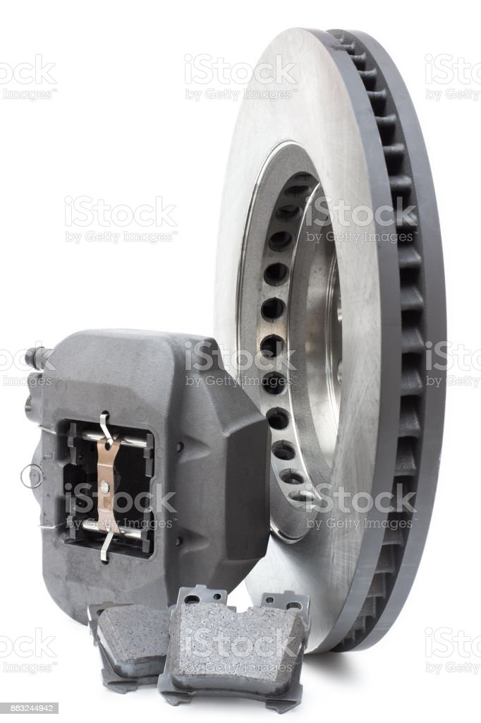 two brake discs and pads on a white background stock photo