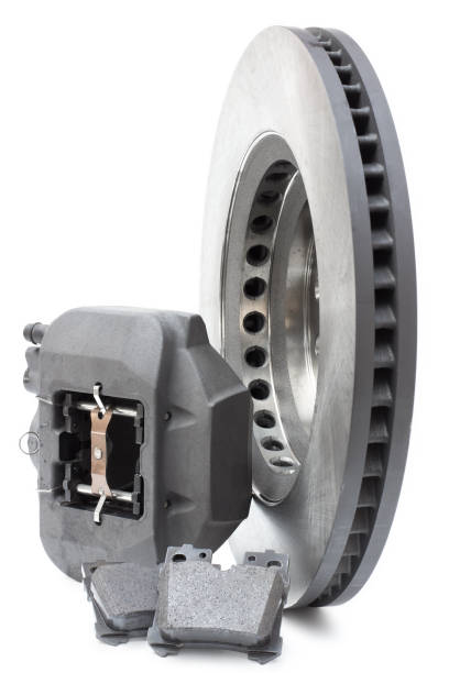 deux freins à disques et plaquettes sur fond blanc - Photo