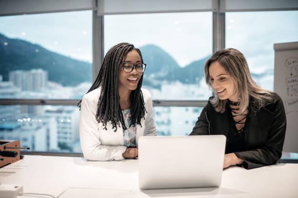 two brazilian businesswoman in office in Rio de Janeiro stock photo