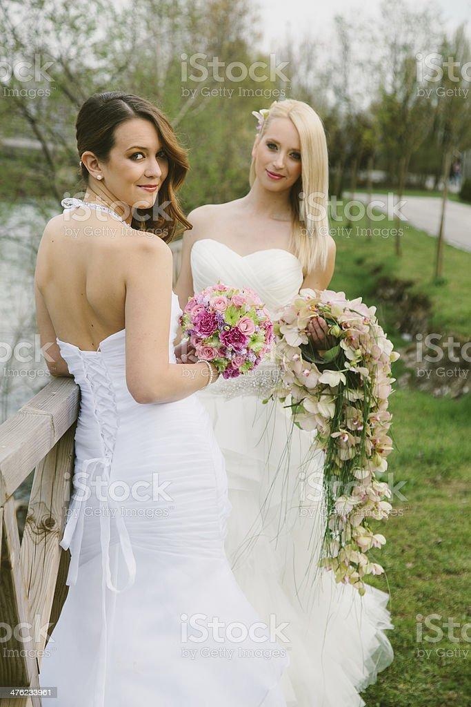 Two brides stock photo