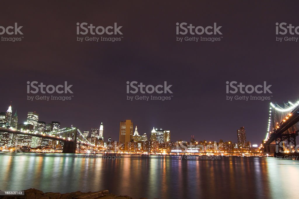 Two Bridges at Night royalty-free stock photo