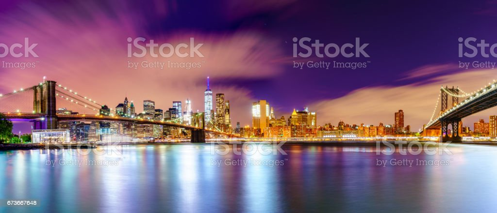 Two Bridges lead to the Manhattan stock photo