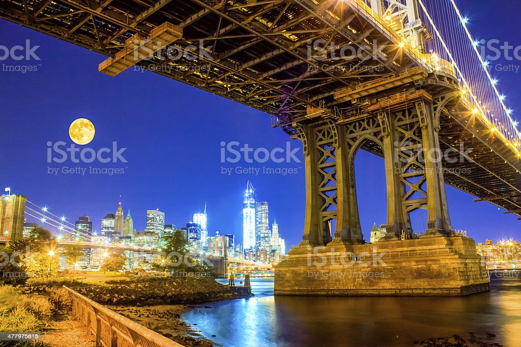 two bridges with supermoon royalty-free stock photo