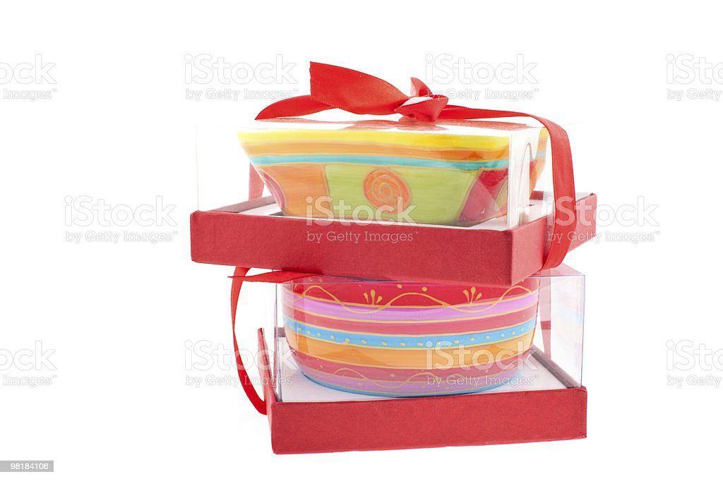 two bright colored dishes in boxes royalty-free stock photo