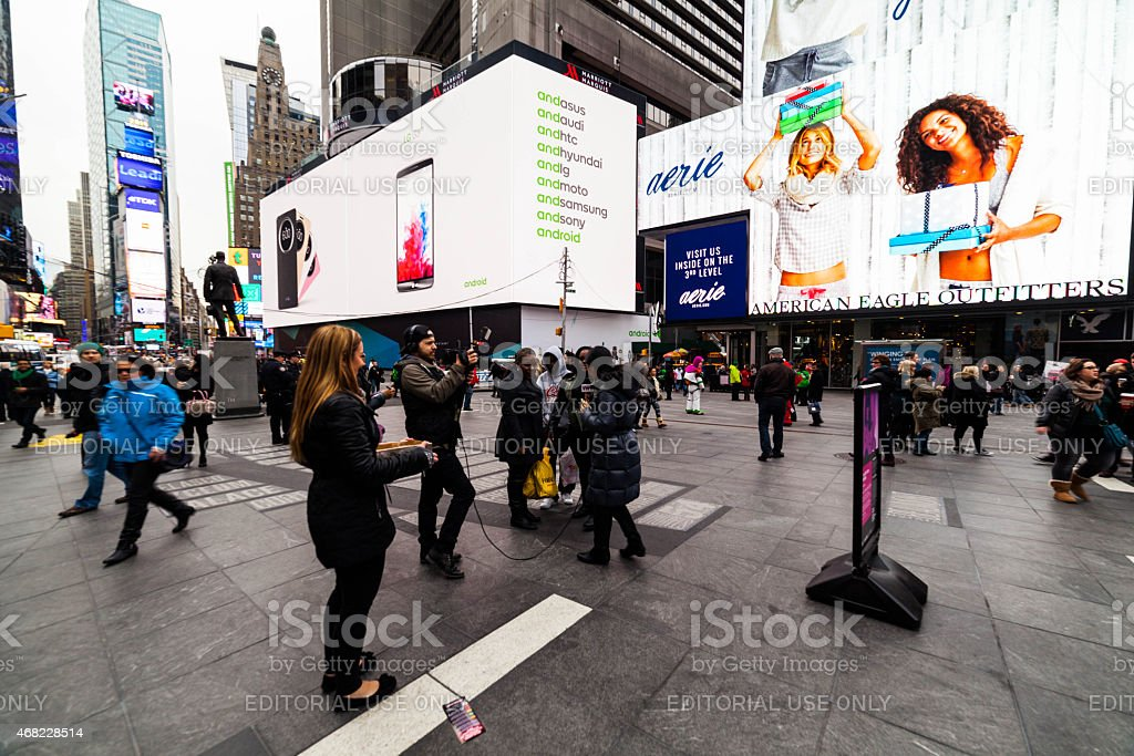 Two Bright White Billboards in Times Square stock photo