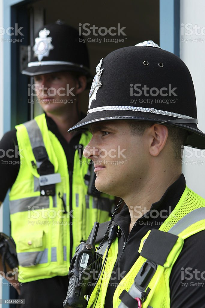Two British Police Constables royalty-free stock photo