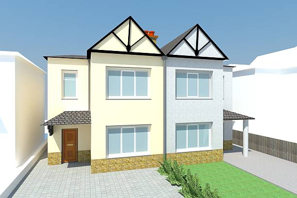 Two British Semi Detached Houses Render stock photo .
