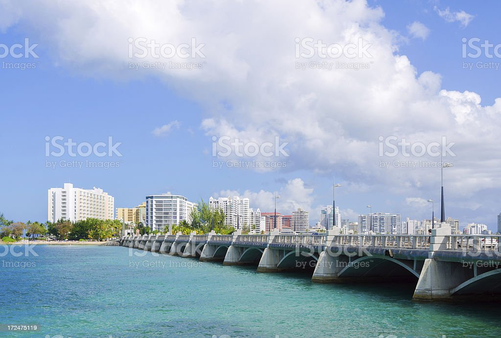 Two Brothers Bridge spanning Condado Lagoon in Puerto Rico stock photo