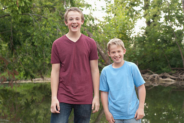 Two Brothers Laughing stock photo