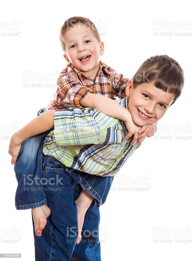 Two brothers playing together stock photo
