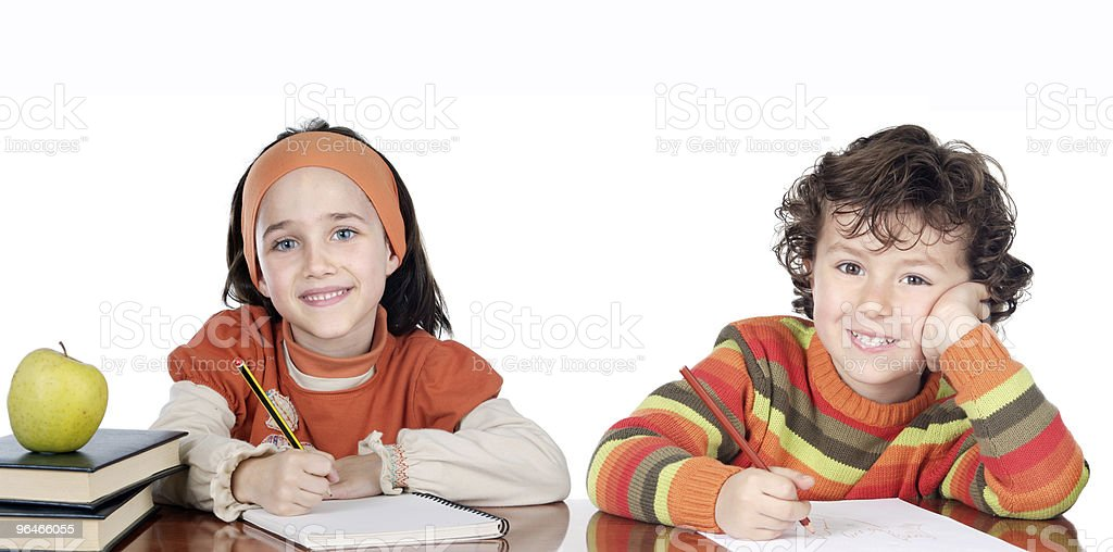 Two brothers students royalty-free stock photo