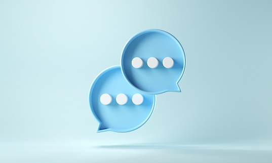 Two bubble talk or comment sign symbol on blue background. 3d render.