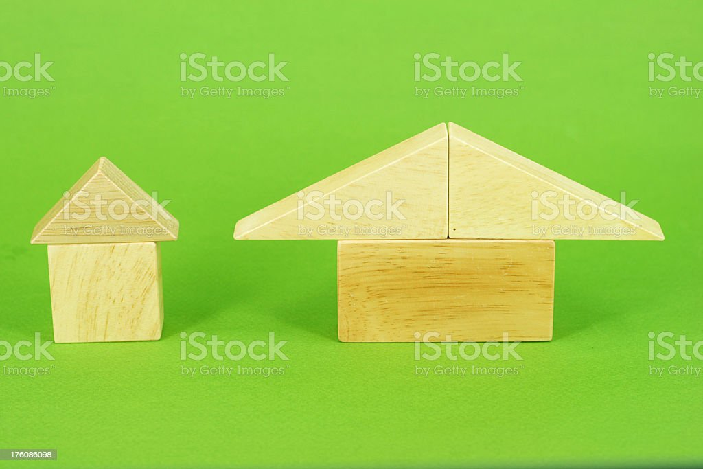 Two building block houses stock photo