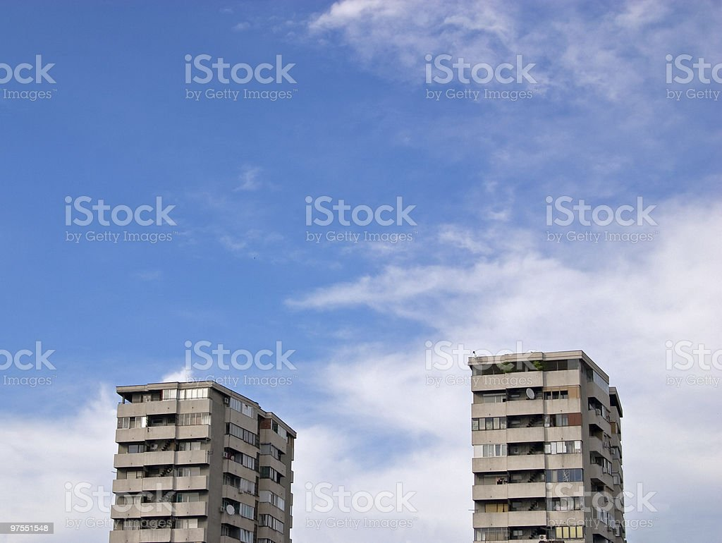 Two buildings and sky royalty-free stock photo
