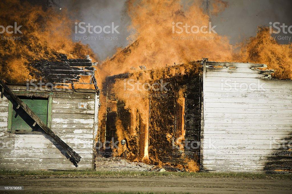 Two Buildings on Fire royalty-free stock photo