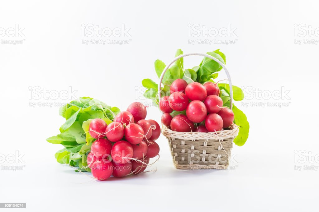 Two bunches of fresh small red purple radishes on isolated white background1 stock photo